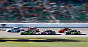 during a NASCAR Cup Series auto race at Kansas Speedway in Kansas City, Kan., Sunday, Oct 21, 2018. (AP Photo/Colin E. Braley)