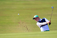 Joseph Byrne (Baltinglass) plays from a bunker on the 1st during Round 2 of the Ulster Boys Championship at Donegal Golf Club, Murvagh, Donegal, Co Donegal on Thursday 25th April 2019.<br /> Picture:  Thos Caffrey / www.golffile.ie