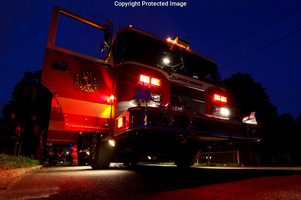 A Clifton Heights Fire Company fire truck at an emergency scene