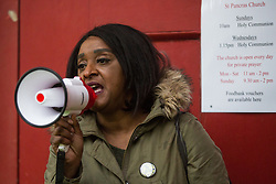 London, UK. 5th May, 2021. Delia Mattis of United for Black Lives (UBL) and Kill The Bill is critical of Mayor of London Sadiq Khan's record in relation to the city's black community whilst addressing activists outside St Pancras Church during a March On The Motorway event organised by Burning Pink to coincide with the eve of the London Mayoral election. United for Black Lives is a coalition of Black Lives Matter (BLM) groups from across the UK. Following the speeches, the campaigners marched to the Westway where they were intercepted by the police.