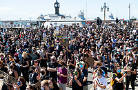 Black Lives Matter demonstration takes place on Brighton seafront  with around 10,000 people turning up Photo by Brian Jordan