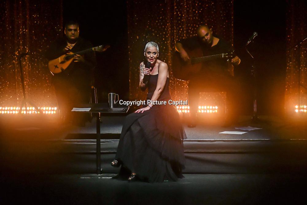 Mariza, ComIH, born Marisa dos Reis Nunes, is a popular Portuguese fado singer Live concert at Royal Festival Hall on 17 November 2018, London, UK