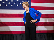 21 OCTOBER 2019 - DES MOINES, IOWA: US Senator ELIZABETH WARREN (D-MA) smiles after talking to about 500 students during an assembly at Roosevelt High School in Des Moines. Sen. Warren talked to students about her journey from childhood in Oklohoma to running for the US Presidency. Sen. Warren is campaigning to be the Democratic nominee for the US presidency in Iowa this week. Iowa traditionally hosts the the first selection event of the presidential election cycle. The Iowa Caucuses will be on Feb. 3, 2020.                  PHOTO BY JACK KURTZ