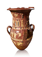 Inandik Hittite relief decorated cult libation vase with four decorative friezes featuring figures coloured in cream, red and black. The processional figures include musicians and acrobats processing to an altar, mid to late 16th century BC - İnandıktepe, Turkey. Against a white background
