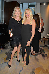 Left to right, DEBBIE MOORE and FRANCES SEGELMAN at a party to celebrate Jack Petchey's 90th birthday in association with the Stroke Association held at the Shangri-La Hotel, Level 34, The Shard, London on 13th July 2015.