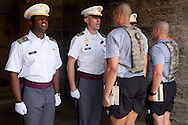 West Point, New York - New cadets report to cadets in the red sash during Reception Day at the United States Military Academy at West Pointon July 2, 2014. About 1,200 cadet candidates, the West Point Class of 2018, reported to the academy to begin their military careers.