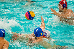 Jorn Winkelhorst of the Netherlands in action against Romania during the Olympic qualifying tournament. The Dutch water polo players are on the hunt for a starting ticket for the Olympic Games on February 16, 2021 in Rotterdam