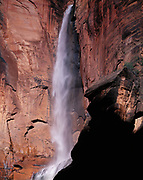 Ephemeral waterfall from spring snow melt at the Temple of Sinawava, Zion National Park, Utah.