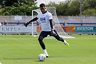 AFC Wimbledon goalkeeper Nathan Trott (1) warming up during the EFL Sky Bet League 1 match between AFC Wimbledon and Accrington Stanley at the Cherry Red Records Stadium, Kingston, England on 17 August 2019.