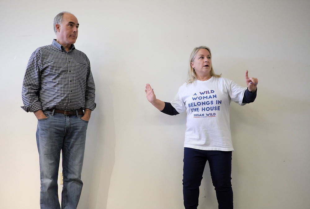 Susan Wild, Democratic candidate for Pennsylvania's new 7th Congressional District, appears during a canvass launch event with Senator Bob Casey on Oct. 13, 2018, at a democratic campaign office in Bethlehem, Pennsylvania.
