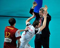 12-02-2012 VOLLEYBAL: BEKERFINALE EUPHONY ASSE LENNIK - NOLIKO MAASEIK: ANTWERPEN<br /> Noliko Maaseik wint vrij eenvoudig de beker van Belgie. In de finale waren zij met 25-21 25-18 en 25-19 te sterk voor Asse Lennik / Vital Heynen<br /> ©2012-FotoHoogendoorn.nl