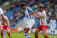 Colchester United striker Michael Mandron (19) controls the ball battles for possession with Stevenage defender Fraser Franks (5) during the EFL Sky Bet League 2 match between Colchester United and Stevenage at the Weston Homes Community Stadium, Colchester, England on 12 August 2017. Photo by Phil Chaplin.