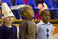 """Middletown, New York - Preschool students perform in the """"YMCA Thanksgiving Day Spectacular"""" on the stage of the Center for Youth Programs on Nov. 27, 2013."""