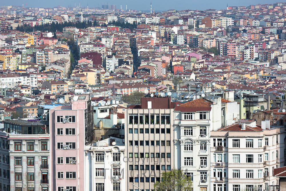 Skyline cityscape apartment blocks and offices of Karakoy and Beyoglu in Istanbul, Republic of Turkey