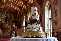 The wedding cake created by Sophie Cabot for the wedding of Princess Eugenie to Jack Brooksbank seen in St. George's Hall at Windsor Castle.