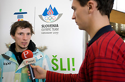 Slovenian ski jumper Robert Kranjec and journalist of Siol Sportal Andrej Rigler at arrival to Airport Joze Pucnik from Vancouver after Winter Olympic games 2010, on February 24, 2010 in Brnik, Slovenia. (Photo by Vid Ponikvar / Sportida)
