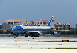 June 17, 2017 - Miami, FL, United States - No New York Dailies..June 16 2017, Miami..Activity on the tarmac as President Donald Trump arrives at Miami International Airport prior to his event where he signed policy changes toward Cuba on June 16, 2017 in Miami, Florida...No New York Dailies  (Credit Image: © Solar/Ace Pictures via ZUMA Press)