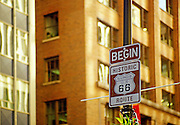 Image of Historic Route 66 sign in Chicago, Illinois, American Midwest by Randy Wells