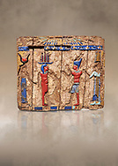 Ancient Egyptian fragments of a small wooded glass inlayed box depicting Egyptian Pharaohs , Ptolemaic Period, (322-30BC) BC, Tebtynis. Egyptian Museum, Turin. Cat 18155. .<br /> <br /> If you prefer to buy from our ALAMY PHOTO LIBRARY  Collection visit : https://www.alamy.com/portfolio/paul-williams-funkystock/ancient-egyptian-art-artefacts.html  . Type -   Turin   - into the LOWER SEARCH WITHIN GALLERY box. Refine search by adding background colour, subject etc<br /> <br /> Visit our ANCIENT WORLD PHOTO COLLECTIONS for more photos to download or buy as wall art prints https://funkystock.photoshelter.com/gallery-collection/Ancient-World-Art-Antiquities-Historic-Sites-Pictures-Images-of/C00006u26yqSkDOM