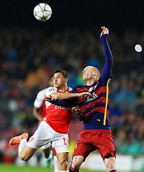 Jeremy Mathieu of Barcelona challenges Alexis Sanchez of Arsenal  - Mandatory byline: Matt McNulty/JMP - 16/03/2016 - FOOTBALL - Nou Camp - Barcelona,  - FC Barcelona v Arsenal - Champions League - Round of 16