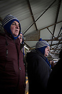 Three home supporters in matching hats watching from the Shed as Greenock Morton take on Stranraer in a Scottish League One match at Cappielow Park, Greenock. The match was between the top two teams in Scotland's third tier, with Morton winning by two goals to nil. The attendance was 1,921, above average for Morton's games during the 2014-15 season so far.