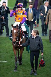 First Assignment ridden by jockey T J O'Brien celebrates after winning the Regulatory Finance Solutions Handicap Hurdle during the November Meeting at Cheltenham Racecourse