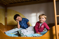 Brothers in bunkbed, Munich, Germany