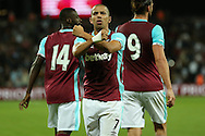 Sofiane Feghouli of West Ham United celebrates after scoring  his sides 3rd goal to make it 3-0 on the night. UEFA Europa league, 3rd qualifying round match, 2nd leg, West Ham Utd v NK Domzale at the London Stadium, Queen Elizabeth Olympic Park in London on Thursday 4th August 2016.<br /> pic by John Patrick Fletcher, Andrew Orchard sports photography.