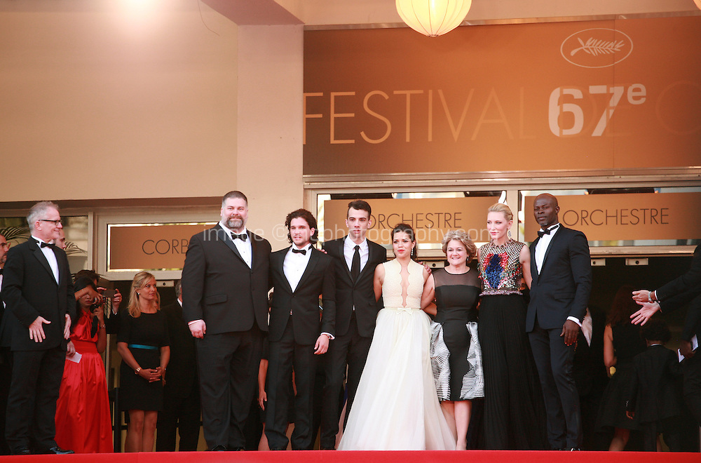 Dean DeBlois, Kit Harrington, Jay Baruchel, America Ferrera, Bonnie Arnold, Cate Blanchett, Djimon Hounsou and Gilles Jacob on the red steps at the the How to Train Your Dragon 2 gala screening red carpet at the 67th Cannes Film Festival France. Friday 16th May 2014 in Cannes Film Festival, France.