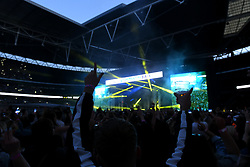 Calvin Harris on stage during Capital's Summertime Ball. The world's biggest stars perform live for 80,000 Capital listeners at Wembley Stadium at the UK's biggest summer party. Picture Credit Should Read: Doug Peters/EMPICS