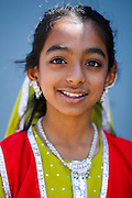 Aanya Shah, 9, poses for a portrait during the First Annual Multicultural Festival at Pomeroy Elementary School in Milpitas, California, on April 27, 2013. (Stan Olszewski/SOSKIphoto)