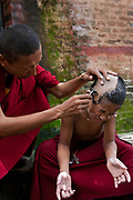 A young monk in a Tibetan monestary at the Swayambhunath temple complex, also called the Monkey Temple. The young boy is having his hair shaved by an older monk.