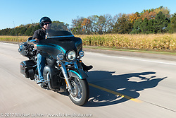 Jeff Nelson with Sioux Falls HOG on his 2015 FLHTKSE for the USS South Dakota submarine flag relay across South Dakota on the first day from Sturgis to Aberdeen. SD. USA. Saturday October 7, 2017. Photography ©2017 Michael Lichter.