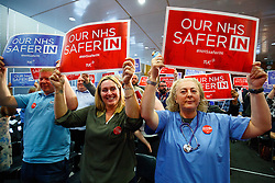 © Licensed to London News Pictures. 14/06/2016. London, UK. NHS staff listening to Labour Leader Jeremy Corbyn speaking to make his case on how NHS is better off in the EU at TUC Conference Centre in London on 14 June 2016. Photo credit: Tolga Akmen/LNP