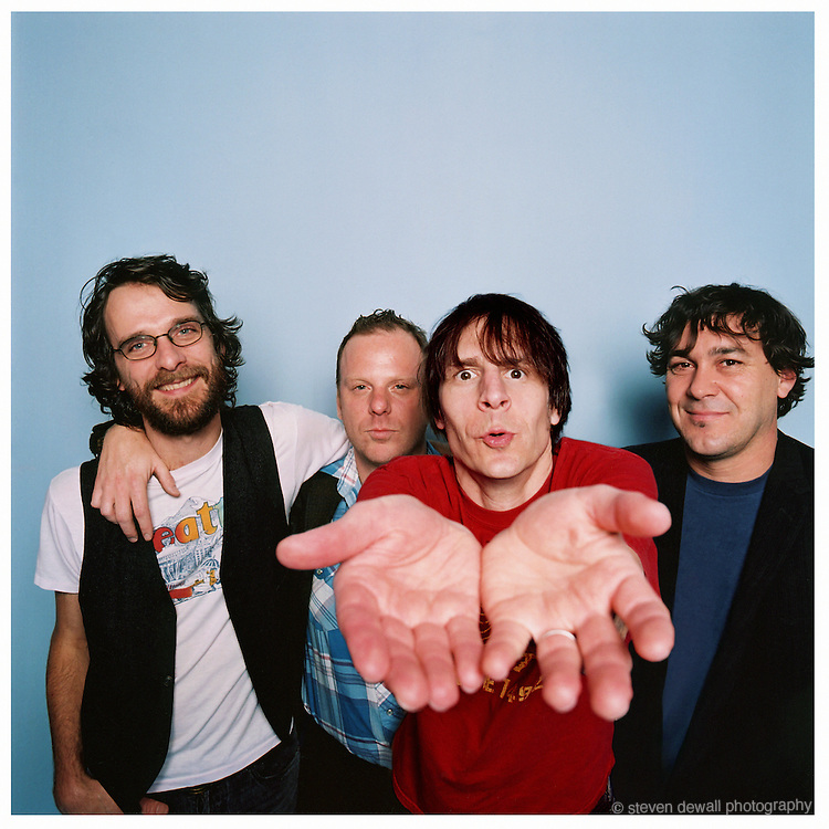 """(L-R) Steve Turner, Dan Peters, Guy Maddison and Mark Arm of Mudhoney photographed in my studio on Capital Hill in Seattle for the release of """"Under a Billion Suns"""" in 2006."""