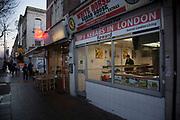 Kebab shop fast food restaurant on Bethnal Green Road in East London, UK.