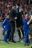 Chelsea's coach Antonio Conte and Alvaro Morata celebrating a goal during UEFA Champions League match between Atletico de Madrid and Chelsea at Wanda Metropolitano in Madrid, Spain September 27, 2017. (ALTERPHOTOS/Borja B.Hojas)