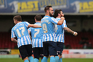 Coventry City striker Adam Armstrong celebrates Coventry City defender Romain Vincelot's goal during the Sky Bet League 1 match between Swindon Town and Coventry City at the County Ground, Swindon, England on 24 October 2015. Photo by Jemma Phillips.