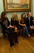 Lady Sophie Hamilton,  Avery Agnelli, Lily Frieda and Jordan Frieda. ( cousins). andrew Roberts and Leonie Frieda celebrate the publication of Andrew's 'Waterloo: Napoleon's Last Gamble' and the paperback of Leonie's 'Catherine de Medic'i. English-Speaking Union, Dartmouth House. London. 8 February 2005. ONE TIME USE ONLY - DO NOT ARCHIVE  © Copyright Photograph by Dafydd Jones 66 Stockwell Park Rd. London SW9 0DA Tel 020 7733 0108 www.dafjones.com