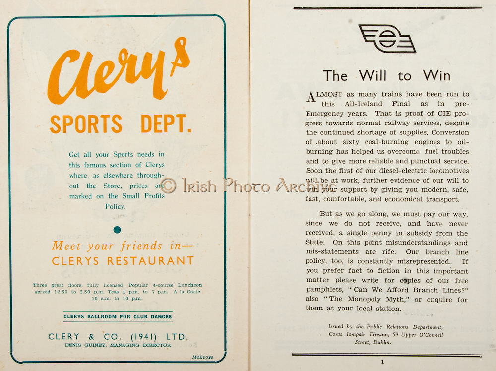All Ireland Senior Hurling Championship Final,.Brochures,.07.09.1947, 09.07.1947, 7th September 1947,.Kilkenny 0-14, Cork 2-7,.Minor Galway v Tipperary, .Senior Kilkenny v Cork, .Croke Park,..Advertisements, Clery's Sports Dept, ..Articles, The Will to Win,