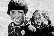 BHUTAN, CHEBISA VILLAGE, Domput w/ baby