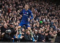 Football - 2019 / 2020 Premier League - Chelsea vs. Crystal Palace<br /> <br /> Christian Pulisic (Chelsea FC) celebrates after scoring his teams second goal at Stamford Bridge <br /> <br /> COLORSPORT/DANIEL BEARHAM