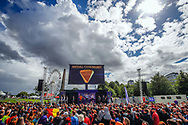 Illustration general view Podium Time Trial Men 45,7 km Jonathan Castroviejo (Spain) silver medal , Victor Campenaerts (Belgium) gold medal and Maimilian Schachmann (Germany) bronze medal during the Road Cycling European Championships Glasgow 2018, in Glasgow City Centre and metropolitan areas Great Britain, Day 7, on August 8, 2018 - photo Luca Bettini / BettiniPhoto / ProSportsImages / DPPI<br /> - restriction - Netherlands out, Belgium out, Spain out, Italy out