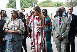 October 2, 2018 - Accra, Ghana, West Africa - First Lady MELANIA TRUMP with REBECCA AKUFO-ADDO, the First Lady of the Republic of Ghana, and students at Kotoka International Airport in Accra, Ghana. (Credit Image: © Andrea Hanks/White House via ZUMA Wire/ZUMAPRESS.com)