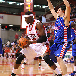 Jan 31, 2009; Piscataway, NJ, USA; Rutgers center Hamady N'Diaye (5) fights for position under the basket against DePaul center Matija Poscic (31) during the first half of Rutgers' 75-56 victory over DePaul in NCAA college basketball at the Louis Brown Athletic Center