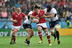 Jeff Hassler of Canada takes on the Romania defence - Mandatory byline: Patrick Khachfe/JMP - 07966 386802 - 06/10/2015 - RUGBY UNION - Leicester City Stadium - Leicester, England - Canada v Romania - Rugby World Cup 2015 Pool D.