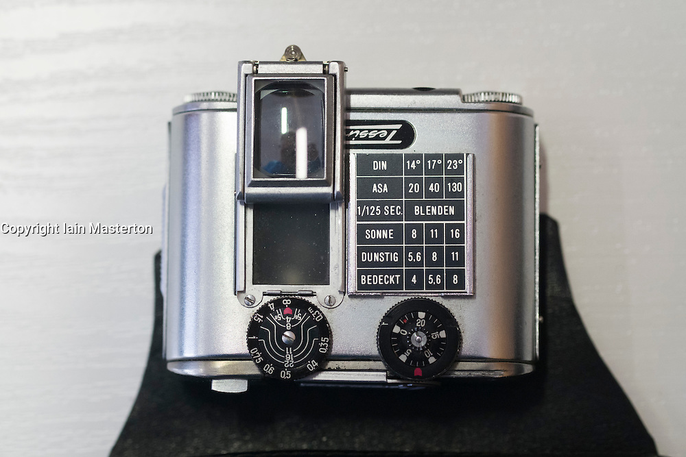 Tessina subminature  spy camera for use inside bags on display at  offices of East German secret Police now STASI Museum in Berlin Germany