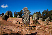 Megalithic enclosure of Almendres, in the outskirts of one of the oldest cities in Portugal, Evora, the capital city of Alentejo Province.