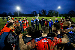 Bristol Rugby huddle after they win the match 10-16 - Mandatory byline: Rogan Thomson/JMP - 02/01/2016 - RUGBY UNION - Lady Bay Sports Ground - Nottingham, England - Nottingham Rugby v Bristol Rugby - Greene King IPA Championship.