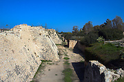 The Crusaders moat around Caesarea 10 m deep and 15 m wide. Caesarea, a town built by Herod the Great about 25 - 13 BC, lies on the sea-coast of Israel Remains of all the principal buildings erected by Herod existed down to the end of the 19th century. Remains of the medieval town are also visible, consisting of the walls (one-tenth the area of the Roman city), the castle, the site of the modest Crusader cathedral and church.